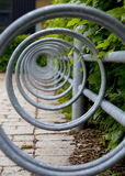 Empty Bicycle Stand. Circles in an Empty Bicycle Stand Royalty Free Stock Image