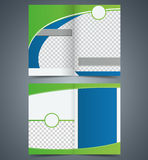 Empty bifold brochure template design with green c Stock Photo