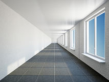 Empty big corridor with window Royalty Free Stock Photography