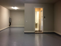 Empty big garage in a new house. TX USA stock photography
