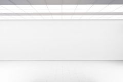 Empty big hall wall mockup, nobody, 3d rendering. Stock Photos