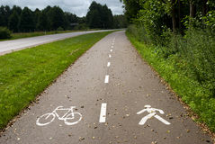 Empty bike path Stock Image
