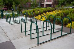 Empty Bike Racks at School Stock Image