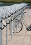 Empty bike storage area with lonely bicycle Royalty Free Stock Images
