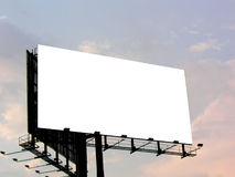Empty Billboard. Late evening sky in the background stock photos