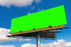 Empty billboard with chroma key green screen, on blue sky with c stock illustration
