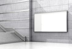 An empty billboard on a concrete wall is located for the ladders. 3d. Illustration Stock Photos