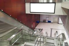 Empty Billboard Escalator Stock Images