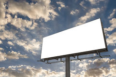 Empty billboard in front of beautiful sunset cloudy sky Stock Photo