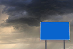 Empty billboard for inscription on the dark clouds Royalty Free Stock Photography
