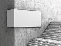 Empty billboard, located in the underground hall, next to the steps. 3d. Illustration Stock Photography