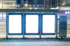 Empty Billboard at Night. A Big empty blank billboard during night royalty free stock photography
