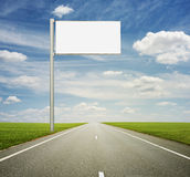 Empty billboard on road Royalty Free Stock Photos