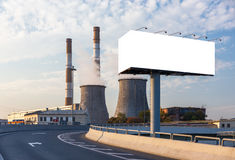 Empty billboard on the road turn Stock Images