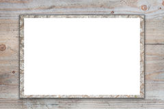 Empty billboard on  wooden background. Stock Photos