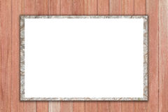 Empty billboard on  wooden background. Royalty Free Stock Image
