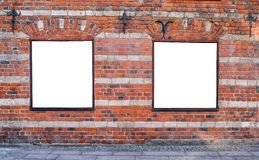 Empty billboards on brick wall Stock Photography