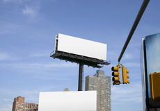 Empty billboards in city. Blank billboards in New York City Royalty Free Stock Images