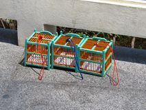 Empty Bird cages at Buddha Hill - Pattaya. Empty Bird cages after bird release at Buddha Hill - Pattaya Thailand Stock Photos