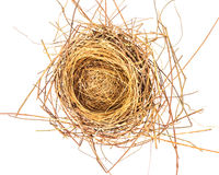Empty bird Nest. In a white background Stock Images