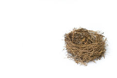 Empty Bird's Nest Isolated On White Background Stock Photo