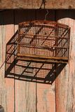 An empty birdcage. An empty wooden birdcage under the sun, outside a wood wall Royalty Free Stock Images