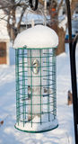Empty Birdfeeder. An empty snow covered birdfeeder Stock Image