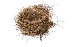 Empty birds nest. Black birds nest on white background stock photography