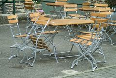 Empty bistro terrace. Due to the rain (France Royalty Free Stock Photography