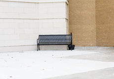 Empty Black Bench Outside Building for Smokers Stock Photos