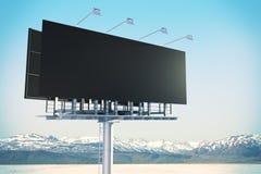 Empty black billboard in sky stock image