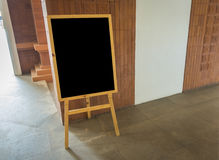 Empty black board  at  restaurant . Stock Image