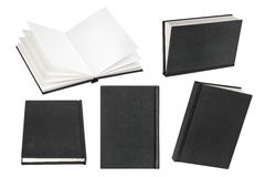 Empty black book on white background with copy space Stock Photos