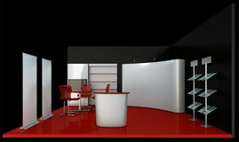 Empty black booth trade. Render commercial stands, display of products at the fair Stock Images
