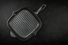 Black cast iron skillet pan