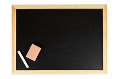 Empty black chalkboard. A empty black chalkboard with chalk and eraser. Path included Royalty Free Stock Photography