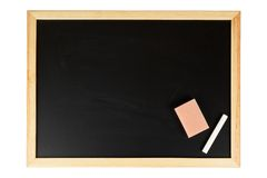 Empty black chalkboard. A empty black chalkboard with chalk and eraser. Isolated on white background Royalty Free Stock Image
