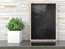 Empty black chalkboard, 3D render Royalty Free Stock Image