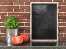 Empty black chalkboard, 3D render. Empty black chalkboard on composition wall as concept 3D render Royalty Free Stock Image