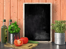 Empty black chalkboard, 3D render. Empty black chalkboard on composition wall as concept 3D render Royalty Free Stock Photo