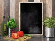 Empty black chalkboard, 3D render Stock Images