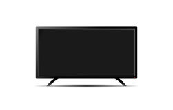 Empty black flat TV wide screen on a white Royalty Free Stock Photography