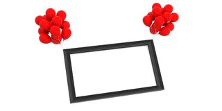 Empty black frame and red balloons on white background. 3d illustration. Empty black frame and red balloons isolated on white background. 3d illustration Stock Photo
