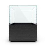Empty Black glass showcase for exhibit Stock Photos