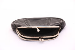 Empty black leather old purse Royalty Free Stock Photos