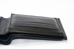 Empty black leather wallet on a white background Stock Image