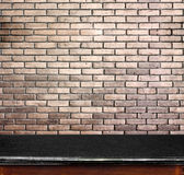 Empty black marble table and white brick wall in background. pro. Duct display template stock image