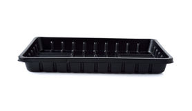 Empty black plastic tray isolated on white. Background royalty free stock photo