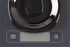 Empty black plate on digital scale Stock Photos