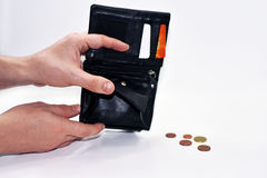 Empty black pocket with no money. Stock Images